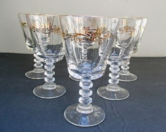 Large Water Goblets Wafer Stem Lifetime China Homer Laughlin Gold Crown - Set of 4 (3 sets available)