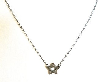 Diamond Star pendant necklace, pave Diamond star, valentines gifts, layering necklace, minimalist, feminine, beachy