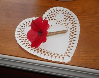 Red Poppy Boutonniere