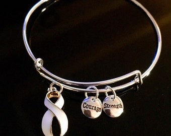 Lung Cancer Awareness Bracelet - Silver Adjustable Wire & Charms - White Ribbon Survivor Gift - Hope Courage