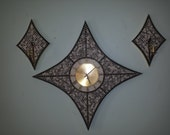 Cool MOSAIC tiled CLOCK and SCONCE Set by Verichron starburst floating numerals