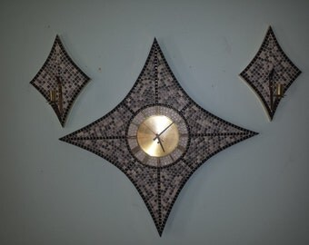 Cool #MOSAIC tiled CLOCK and SCONCE Set by Verichron starburst floating numerals