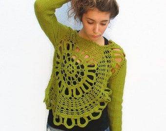 Knit Crochet Woman Romantic Lace wool Sweater Mandala Sweater Woman Spring Green