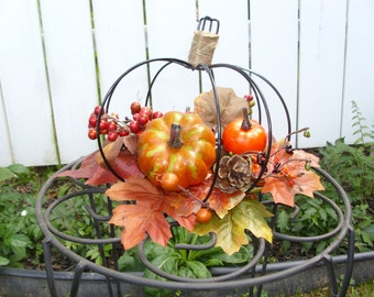 wrought iron pumpkin centerpiece