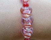 Pink Lampworked Heart Bracelet