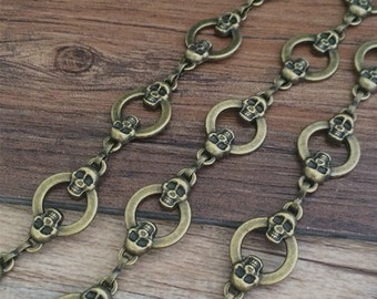 1m Antique Bronze  Necklace Chain  Skull Chain For Jewelry making
