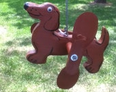 Handcrafted Dachshund Whirligi, Wood,& Metal, Yard Art, Acrylic Paint, Garden Decor