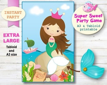LARGE - Instant Download, Pin the Tail on the Mermaid. Printable Mermaid Party Game. Pool Party Printables.