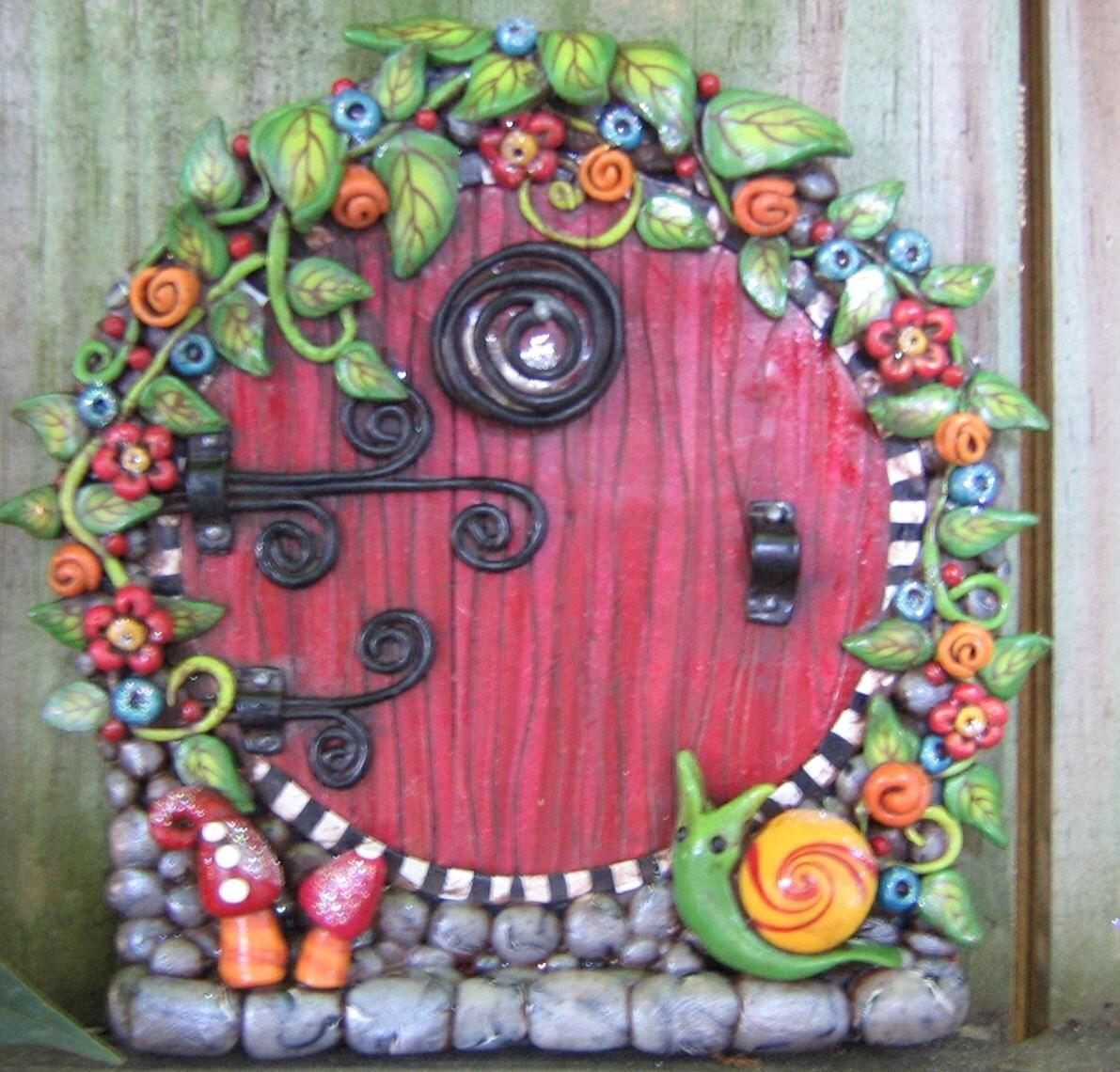 Red rainbow garden fairy door pixie portal for Rainbow fairy door