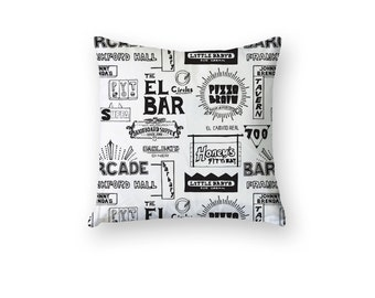 16in. FISHTOWN Northern Libs Kensington Geometric City Urban Culture | Philly Home Decor Northern Liberties | Black and White
