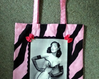 DIY Hand Made Burlesque Dita Von Teese Zebra Print Pink Tote Bag Shopper