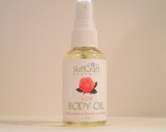 Rose Body Oil - Massage Oil - Bath Oil - 100% Natural Fragrance & Rose Essential Oils - 2 oz