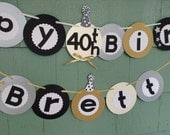 Happy 40th Birthday Banner birthday party sign decorations green silver black gold