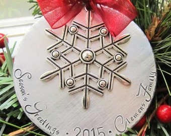 Personalized LARGE Christmas Ornament - Large Ornament - Hand Stamped - Snowflake Ornament - Christmas Gift - Personalized Gift - Family