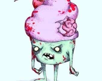 Zombie Cupcake Fine Art Print