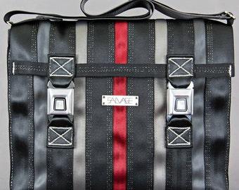 Messenger Bag-Black/Grey/Red Stripe-white thread
