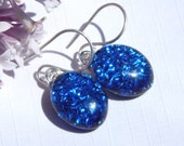 Sparkly Blue Dichroic Glass Dangle Earrings - Fused Glass Jewelry - Blue Glass Drop Earrings on 925 Sterling Silver Earwires