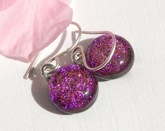 Reserved for Lauren - Pink Dichroic Glass Drop Earrings on 925 Sterling Silver Earwires - Cerise Glass Dangle Earrings - Fused Glass Jewelry