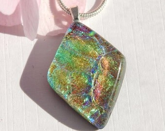 Soft Pastel Dichroic Glass Pendant - Fused Glass Jewelry - Diamond Shape Glass Necklace