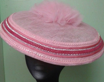 Candy Floss Pink hand made Lace Covered Sinamay Hatinator with Trim. Wedding Hat Church Hat Special Occasion Hat