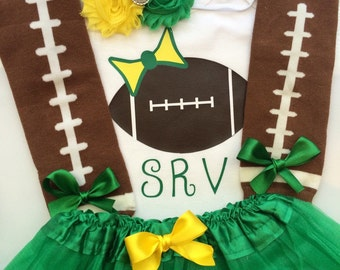 TODDLER Girl Football Outfit - personalized baby girl outfit - baby girl football clothes- football leg warmers- GREEN and YELLOW