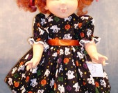 18 Inch Doll Clothes - Ghosts and Pumpkins on Black Halloween Dress made by Jane Ellen to fit slender 18 inch dolls