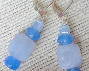 Earrings, Blue Earraings, Summer Blue Earrings, Blue Earrings, Gemstone Earrings, Blue Chalcedony Earrings, Gemstone Jewelry