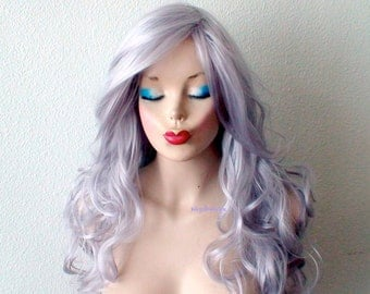 Silver wig. Long curly hair long side bangs wig. Durable Heat resistant wig for daytime use or Cosplay.