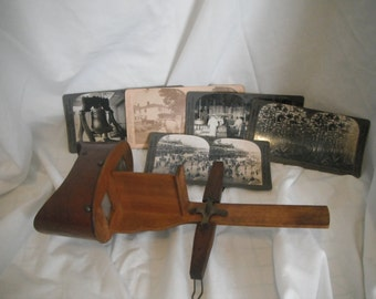 Antique stereoscope view with 5 viewing cards