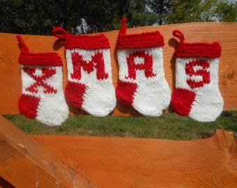 XMAS Mini Christmas Stockings Hand Knitted Set of 4 Christmas Gift Christmas Decoration Stocking Ornament