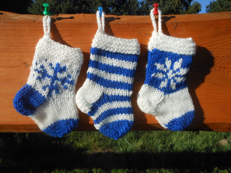 Mini Christmas Stocking Knitting Pattern Easy : Mini Christmas Stockings Hand Knitted Set of 3 by MyKnitCroch