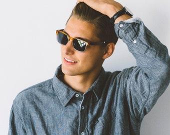 Husband Gift Wood Sunglasses, Clear Frame Sunglasses, Real Wood Sunglasses - MDW-CLEAR