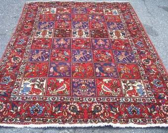 1970s Hand-Knotted Four Seasons Bakhtiari Persian Rug (3164)
