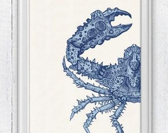 The big crab sea life print - Wall decor poster - Modern coastal homes SPA07