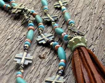 Turquoise Leather Tassel Necklace Long Necklace Layering Necklace Bohemian Jewelry