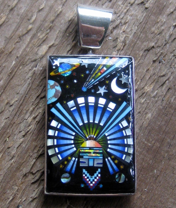 Vintage Southwestern Inlaid Pendant Sterling Silver