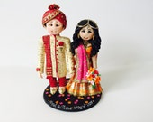 For Tinker Fairy - Personalised Asian Indian Sikh Hindu Pakistani Muslim Saree Sari Bride & Groom Ethnic wedding cake topper