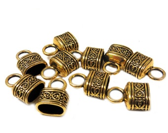 Fancy End Cord, Gold, 13x17mm - 10 pieces