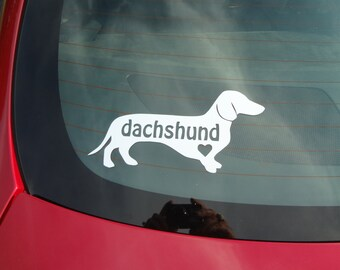 2 Love A Dachshund Wiener Dog Decal Window Dog Sticker Gift Puppy Heart Love Canine Paws Glass Decal Car Van Truck Golf Cart Camper BFF Mini