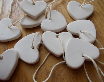 10 Ceramic Hearts / Gift Tags / Wedding FAVORS / Birthday Favors / HEART Chimes / Ornament / White Heart / Thankyou Gift / Shower favor