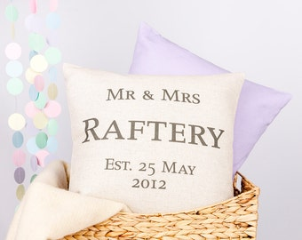 Personalised Mr & Mrs Wedding Anniversary Custom Made Pillow Cushion Cover Quality Linen Cotton