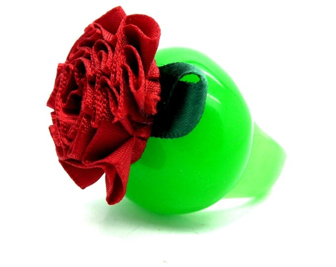Colorful gift ring, big rings flower, funny jewelry, ring womens green, floral ring, big rings women, unique ring mom, woman big rings