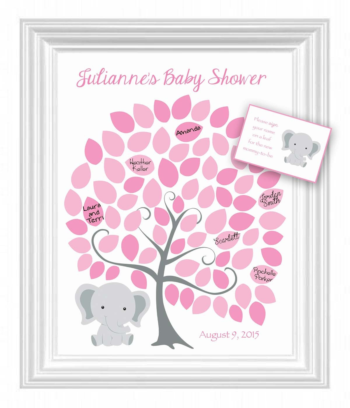 baby shower guest 16x20 sign in tree poster elephant theme