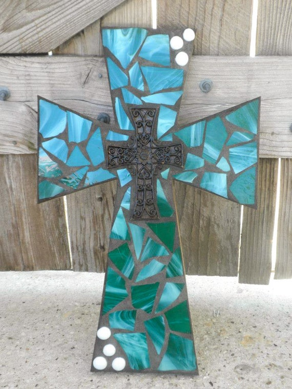 Items Similar To Green Mosaic Cross Teal Mosaic Stained