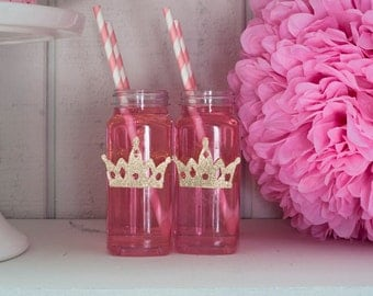 10 or More Tiara Crown Milk Bottles, Glitter Tiara Labels, Clear French Square Milk Bottles With Caps
