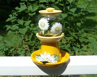 Daisy Clay Pot Covered Glass Votive Holder