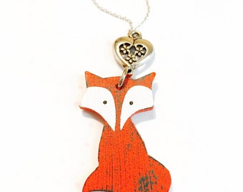 Fox necklace- nature inspired necklace- fox jewelry- gift for her- christmas gift- fairy tale necklace