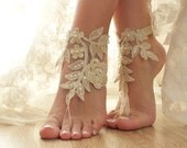 Champagne Beach wedding barefoot sandals