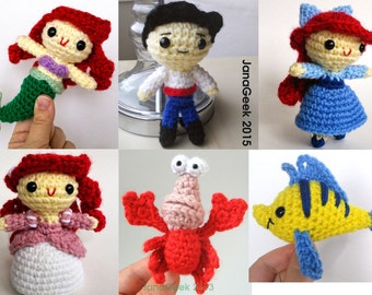 Little Mermaid, Prince, Crabby Friend and Fishy Friend Amigurumi Doll Crochet Patterns Discount Bundle