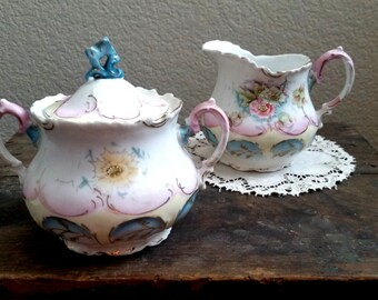 Vintage Victorian Cream and Sugar bowl Set, Hand Painted